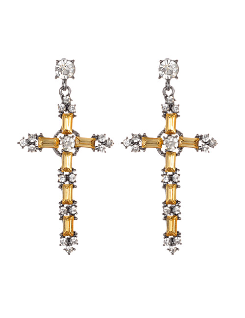 Fashion Yellow Cross Shape Decorated Earrings
