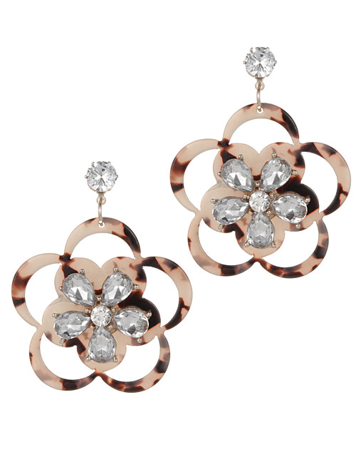 Fashion Brown Flower Shape Decorated Earrings