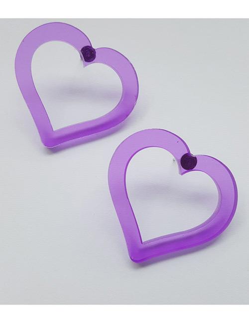 Fashion Purple Heart Shape Decorated Earrings
