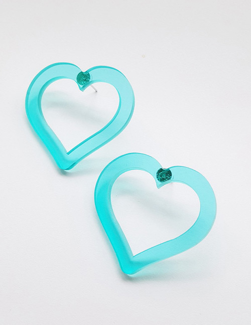 Fashion Blue Heart Shape Decorated Earrings