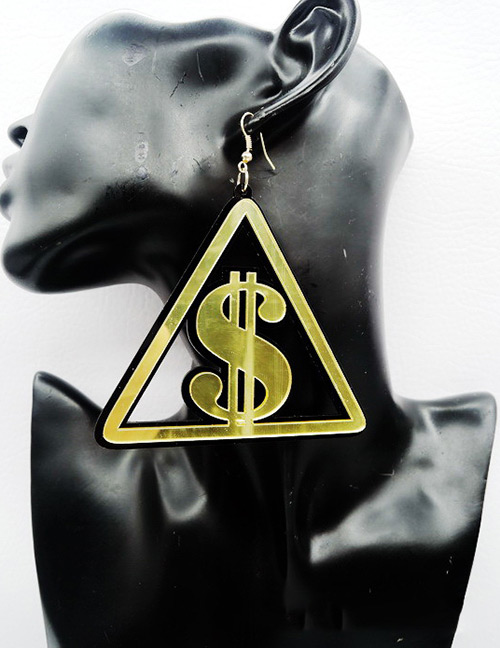 Fashion Gold Color Dollar Shape Decorated Earrings