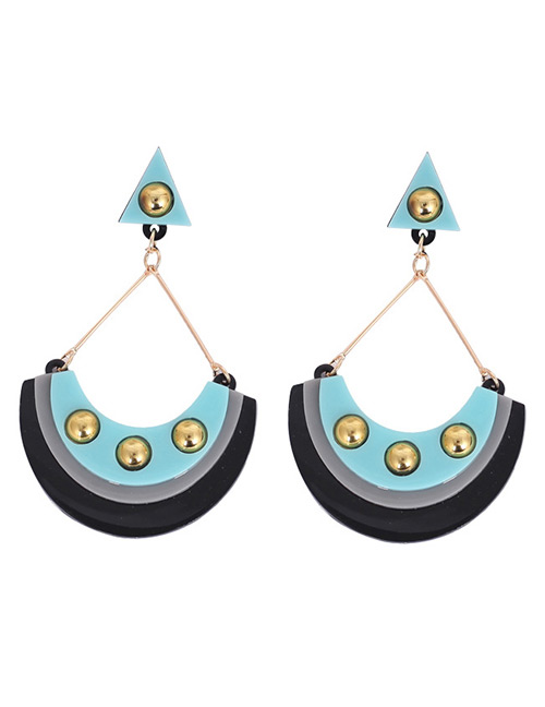 Fashion Blue+black Rivet Decorated Earrings