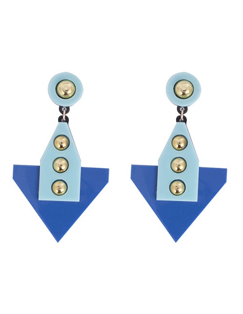 Fashion Blue Rivet Decorated Earrings