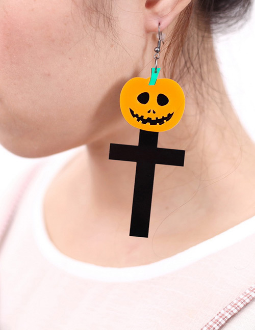 Fashion Yellow+black Pumpkin Shape Decorated Earrings