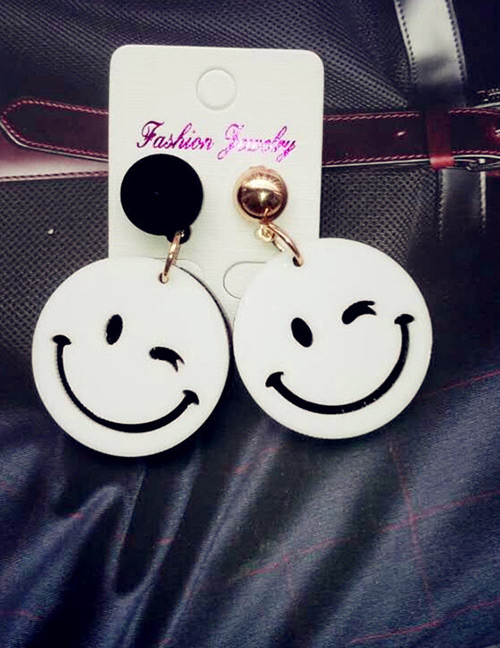 Fashion White Smile Face Shape Decorated Earrings
