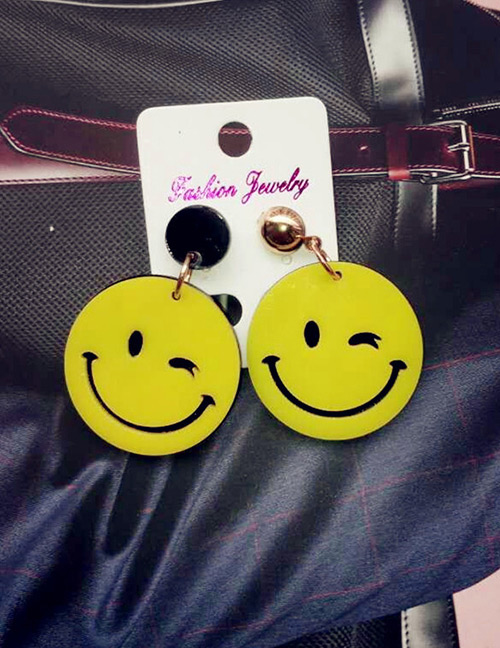 Fashion Yellow Smile Face Shape Decorated Earrings