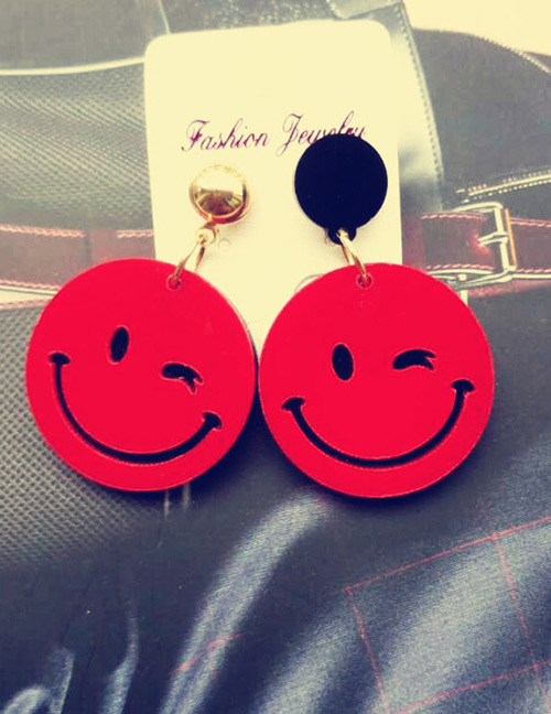 Fashion Red Smile Face Shape Decorated Earrings