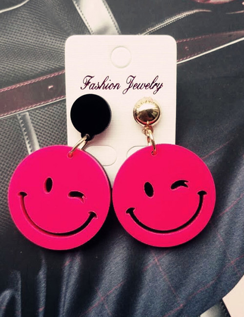 Fashion Plum Red Smile Face Shape Decorated Earrings