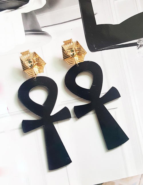 Fashion Black Cross Shape Decorated Earrings