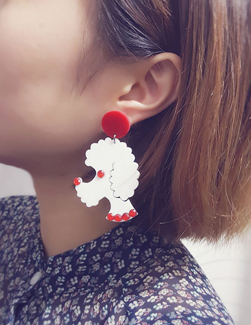 Fashion Red Dog Shape Decorated Earrings