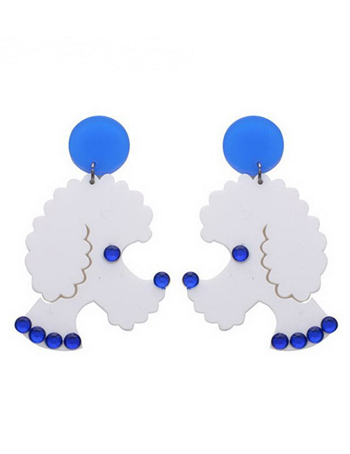 Fashion Blue Dog Shape Decorated Earrings