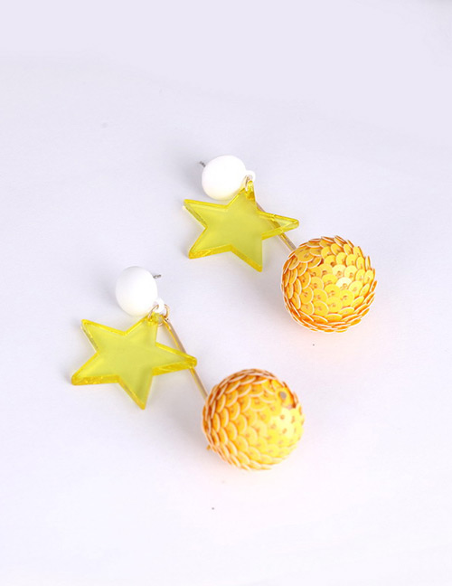 Fashion Yellow Ball Shape Decorated Earrings