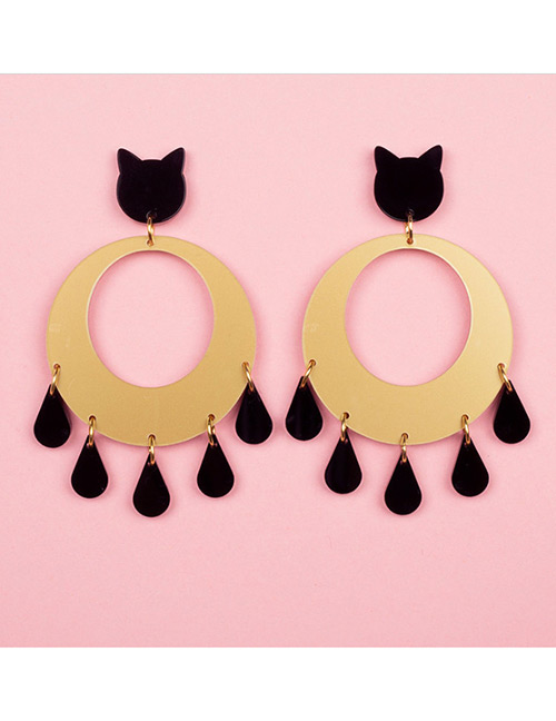 Fashion Gold Color Cat Shape Decorated Earrings