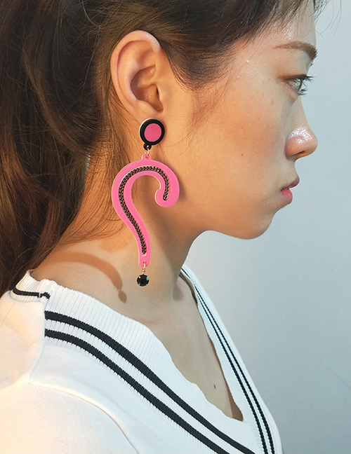 Fashion Pink Question Mark Shape Decorated Earrings