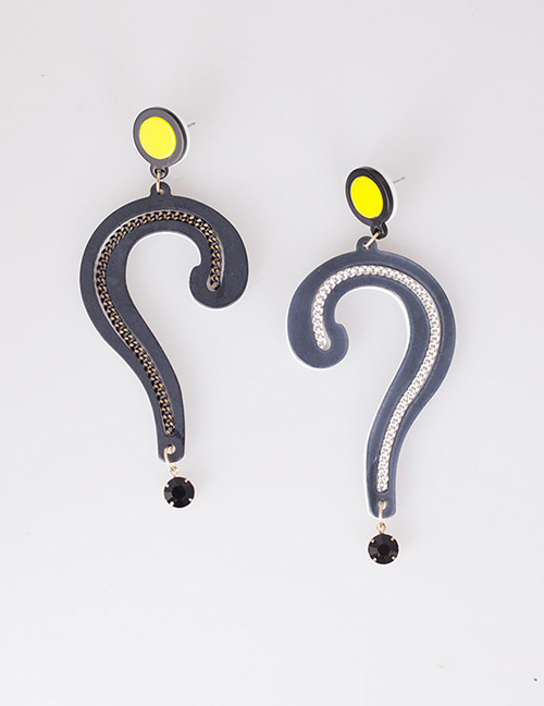 Fashion Black Question Mark Shape Decorated Earrings