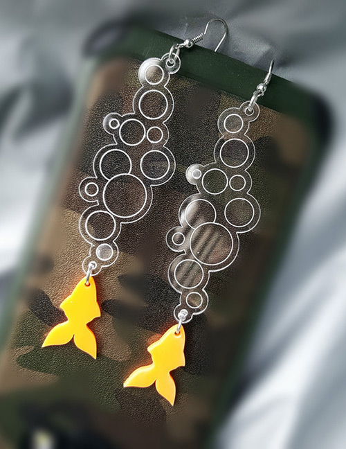 Fashion Yellow Fish Pattern Decorated Earrings