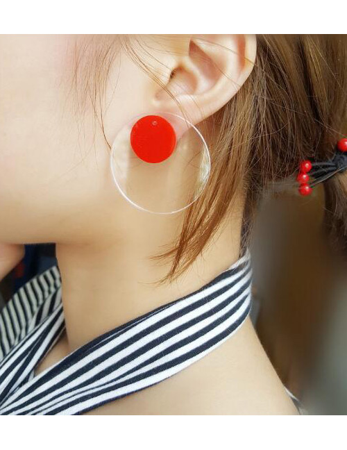 Fashion Red Round Shape Decoratd Earrings