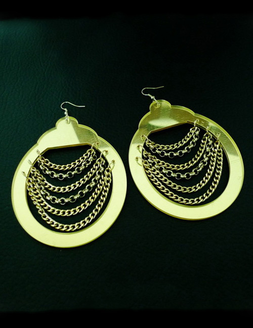 Fashion Gold Color Chain Decorated Pure Color Earrings