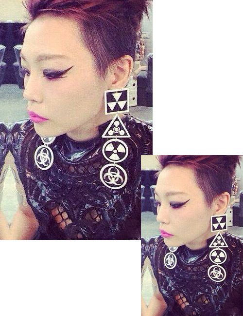 Fashion Black Color Matching Decorated Earrings