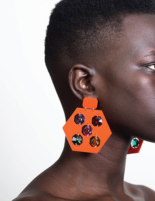 Fashion Orange Diamond Decorated Earrings