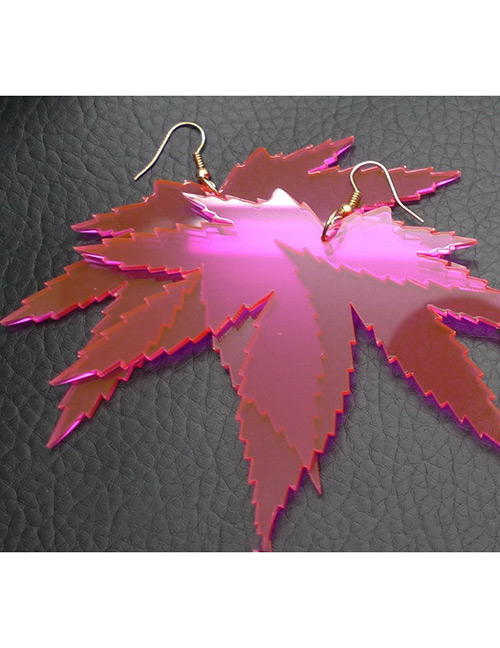 Fashion Plum Red Leaf Shape Decorated Earrings