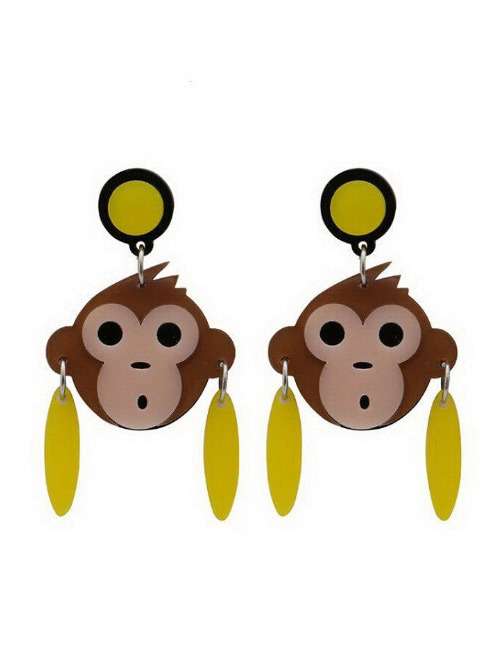 Fashion Multi-color Monkey Shape Decorated Earrings