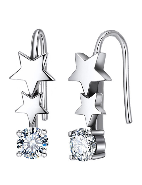 Elegant Silver Color+white Star Shape Decorated Pure Color Earrings
