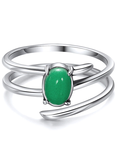 Elegant Silver Color+green Gemstone Decorated Double Layer Ring