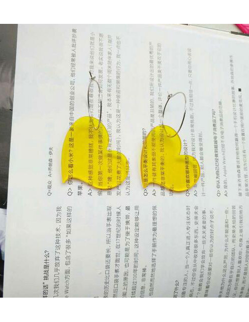 Fashion Yellow Pure Color Design Heart Shape Earrings