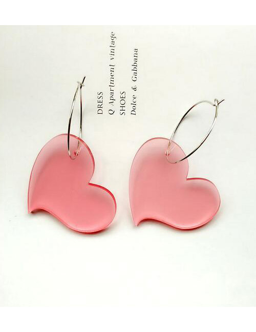 Fashion Pink Pure Color Design Heart Shape Earrings
