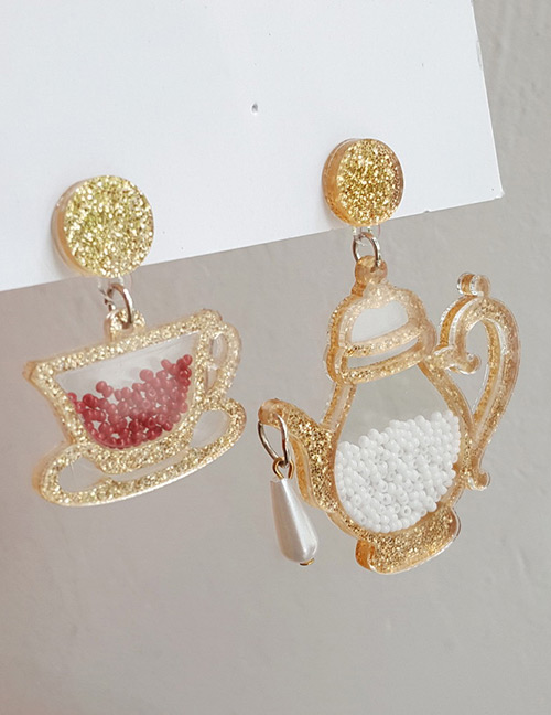 Fashion Silver Color Teapot&cup Pendant Decorated Earrings
