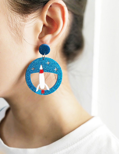 Fashion Blue+white Aircraft Shape Decorated Earrings