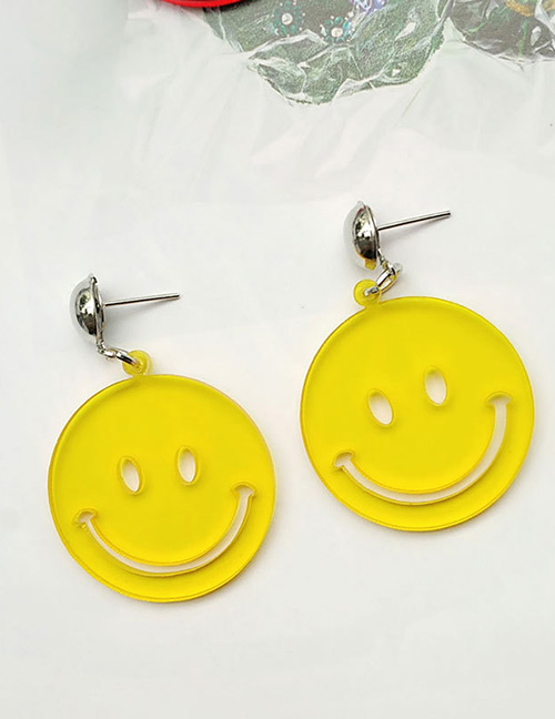 Fashion Yellow Smiling Face Decorated Pure Color Earrings