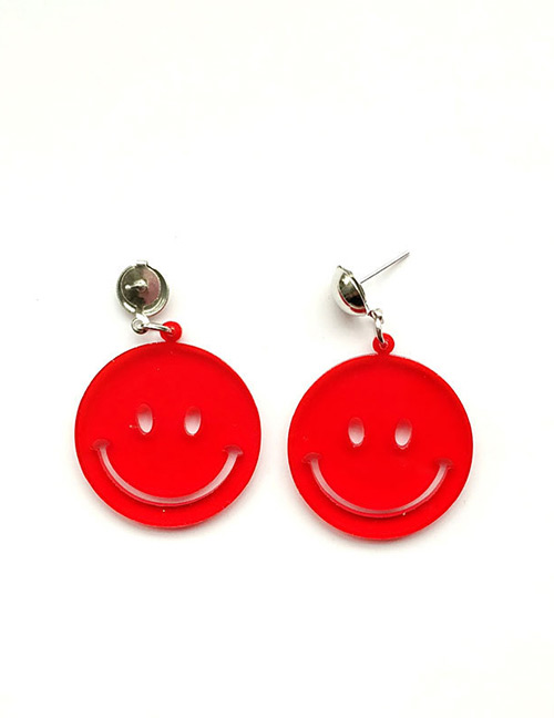 Fashion Red Smiling Face Decorated Pure Color Earrings