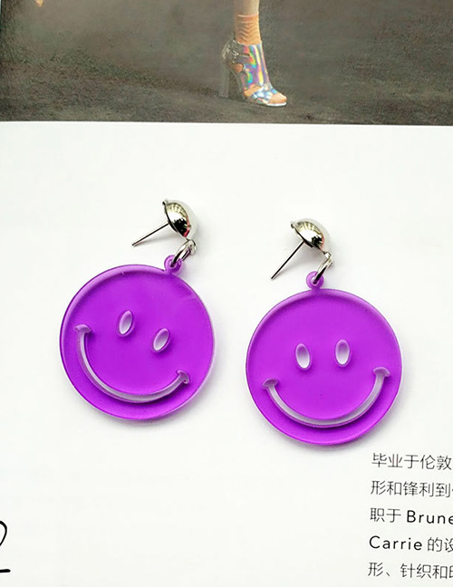 Fashion Purple Smiling Face Decorated Pure Color Earrings