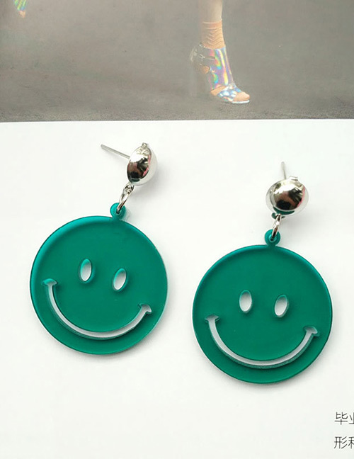 Fashion Green Smiling Face Decorated Pure Color Earrings
