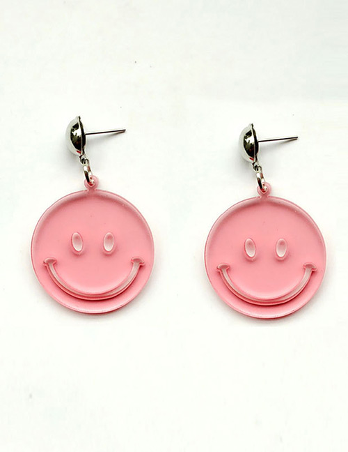 Fashion Pink Smiling Face Decorated Pure Color Earrings