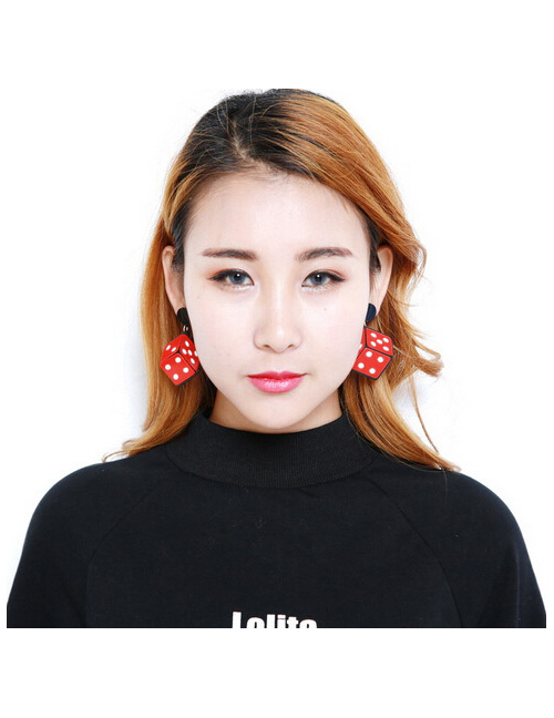 Fashion Red Dice Shape Decorated Simple Earrings