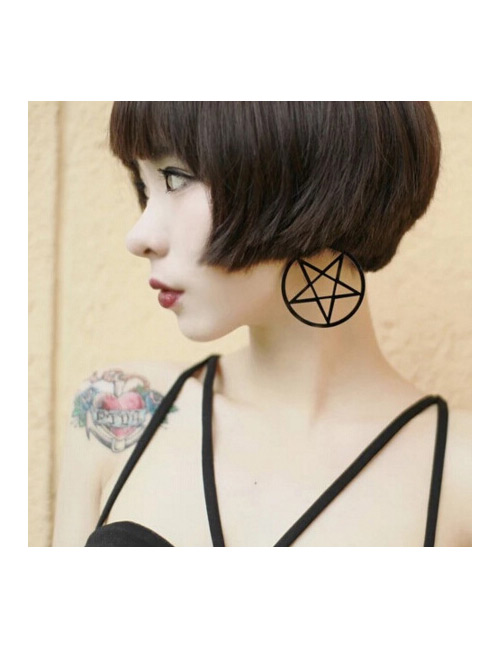 Fashion Black Cross Shape Pendant Decorated Earrings