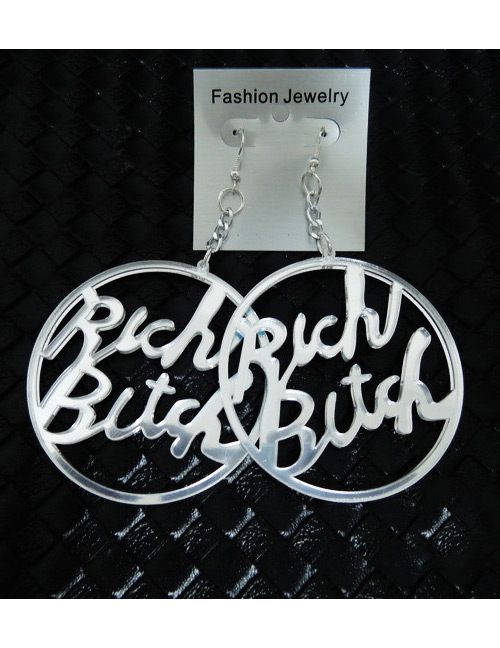 Fashion White Hollow Out Letter Decorated Earrings