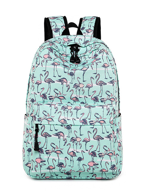 Fashion Light Green Flamingo Pattern Decorated Backpack