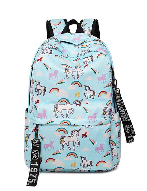 Fashion Blue Flamingo Pattern Decorated Backpack