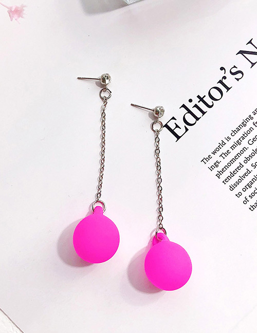 Fashion Plum Red Ball Shape Decorated Earrings