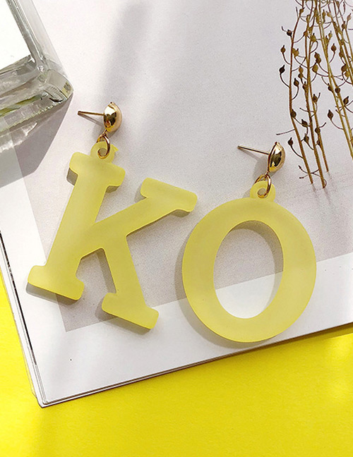 Fashion Yellow Letter Ok Shpe Decorated Earrings