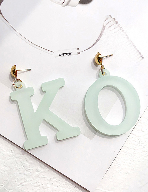 Fashion Light Green Letter Ok Shpe Decorated Earrings