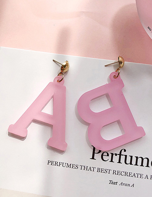Fashion Pink Letter Ab Shape Decorated Earrings