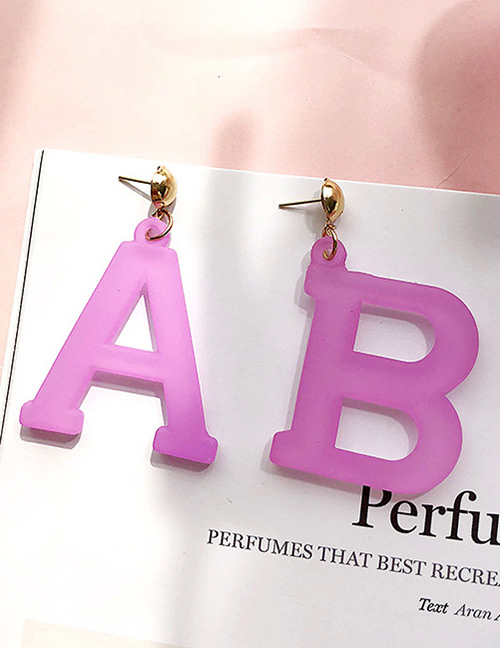 Fashion Purple Letter Ab Shape Decorated Earrings