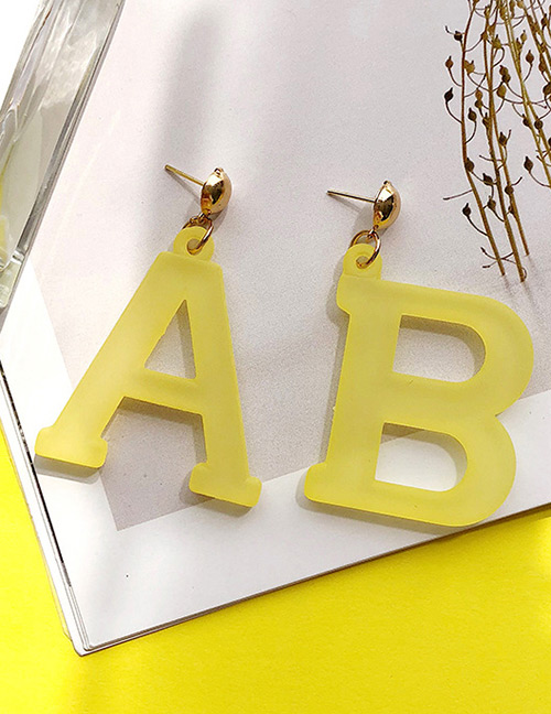 Fashion Yellow Letter Ab Shape Decorated Earrings