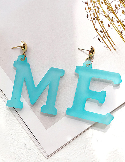 Fashion Blue Letter Me Shape Decorated Earrings