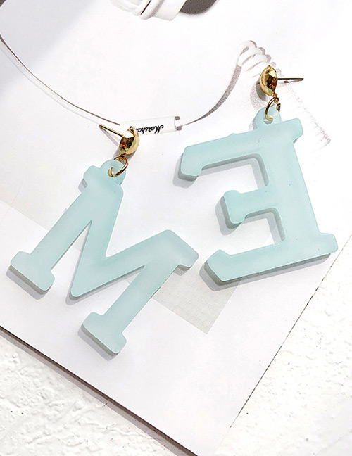 Fashion Light Blue Letter Me Shape Decorated Earrings